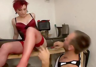 Mature redhead gets her hairy bush rubbed and