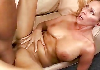 Busty blonde momma gets her shaved nookie