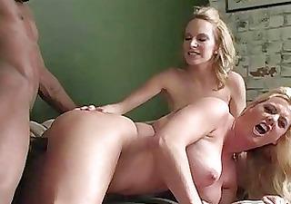 Busty blonde mommas playing with big black boner